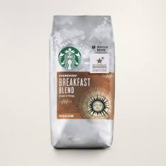 Bag of whole bean Breakfast Blend coffee, roasted by Starbucks