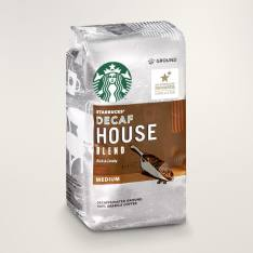 Bag of whole bean House Blend Decaf coffee, roasted by Starbucks