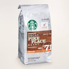 Bag of whole bean Decaf Pike Place® Roast coffee, roasted by Starbucks