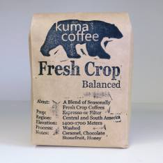 Bag of whole bean Fresh Crop Blend - Balanced coffee, roasted by Kuma Coffee