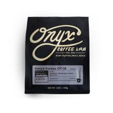 Bag of whole bean Kenya Kiunyu OT-18 coffee, roasted by Onyx Coffee Lab