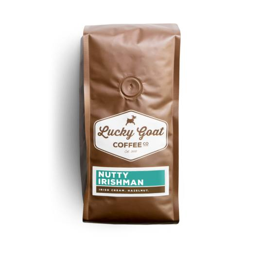 Bag of whole bean Nutty Irishman coffee, roasted by Lucky Goat Coffee Co.