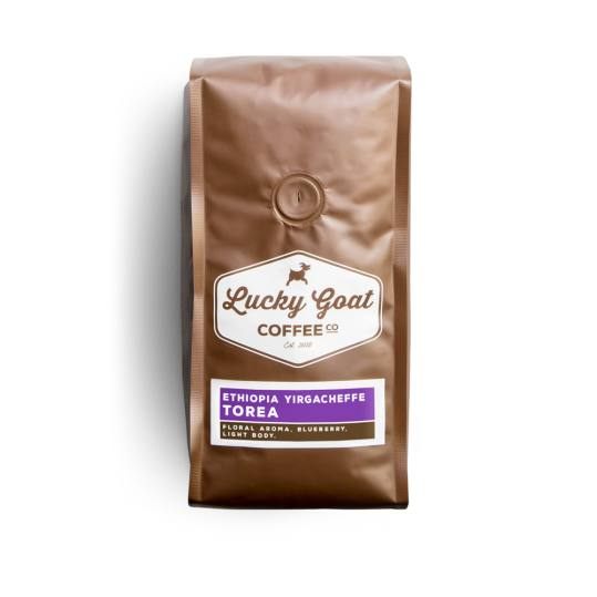 Bag of whole bean Ethiopia Yirgacheffe, Torea coffee, roasted by Lucky Goat Coffee Co.