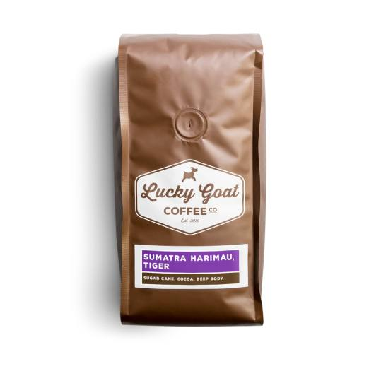 Bag of whole bean Sumatra Harimau, Tiger coffee, roasted by Lucky Goat Coffee Co.
