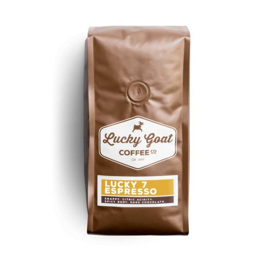Bag of whole bean Lucky 7 Espresso coffee, roasted by Lucky Goat Coffee Co.