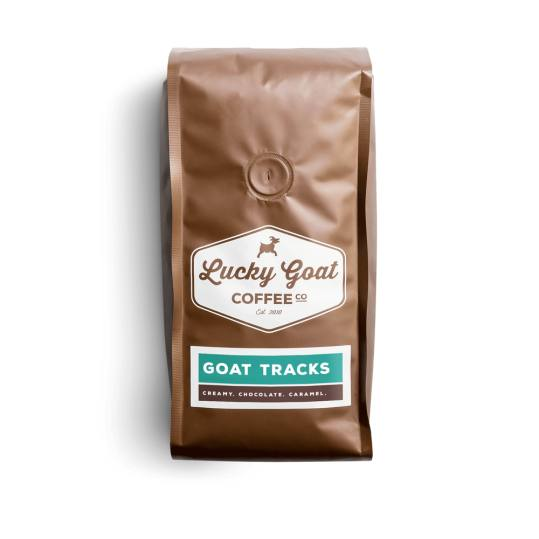 Bag of whole bean Goat Tracks coffee, roasted by Lucky Goat Coffee Co.
