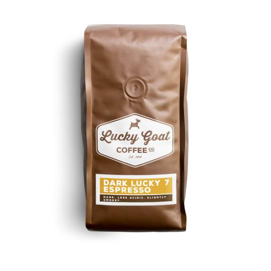 Bag of whole bean Dark Lucky 7 Espresso coffee, roasted by Lucky Goat Coffee Co.
