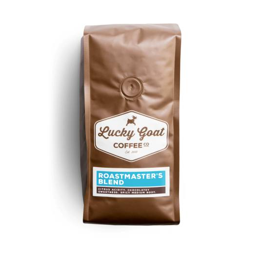 Bag of whole bean Roastmaster's Blend coffee, roasted by Lucky Goat Coffee Co.