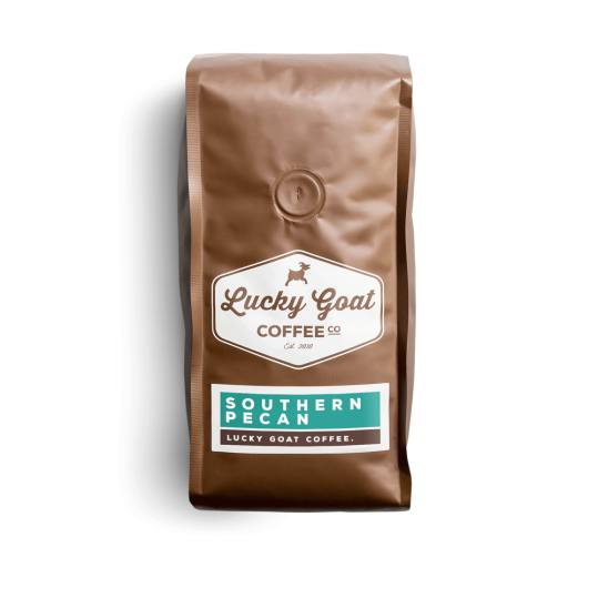 Bag of whole bean Southern Pecan coffee, roasted by Lucky Goat Coffee Co.