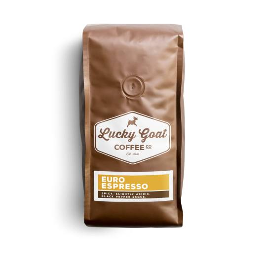 Bag of whole bean Euro Espresso coffee, roasted by Lucky Goat Coffee Co.