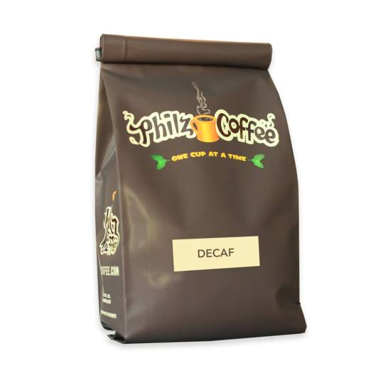 Bag of whole bean Decaf Colombia Darker Roast coffee, roasted by Philz Coffee