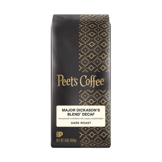 Bag of whole bean Decaf Major Dickason's Blend® coffee, roasted by Peet's Coffee