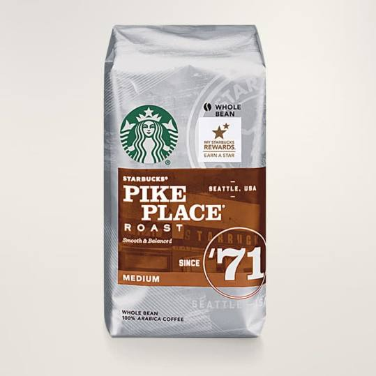 Bag of whole bean Pike Place® Roast coffee, roasted by Starbucks