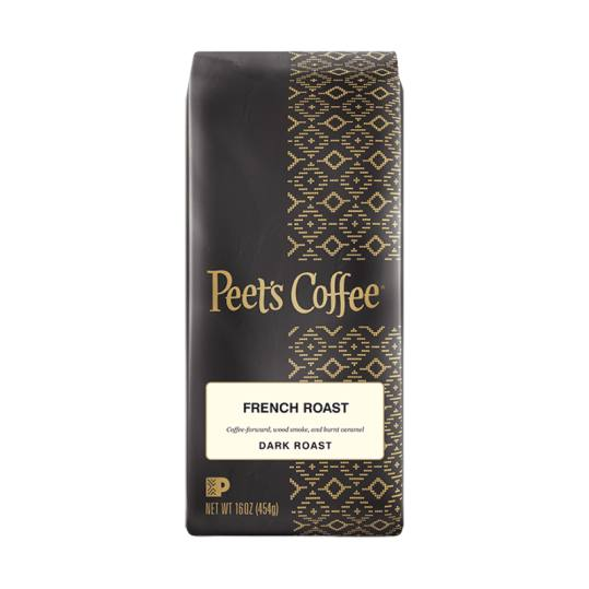 Bag of whole bean French Roast coffee, roasted by Peet's Coffee
