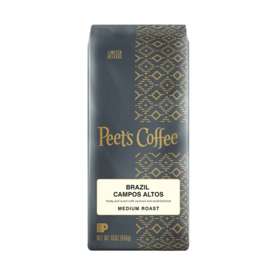 Bag of whole bean Brazil Campos Altos coffee, roasted by Peet's Coffee