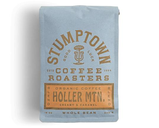 Bag of whole bean Holler Mountain coffee, roasted by Stumptown Coffee Roasters