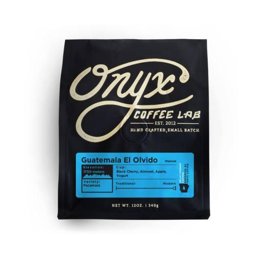 Bag of whole bean Guatemala El Olvido coffee, roasted by Onyx Coffee Lab