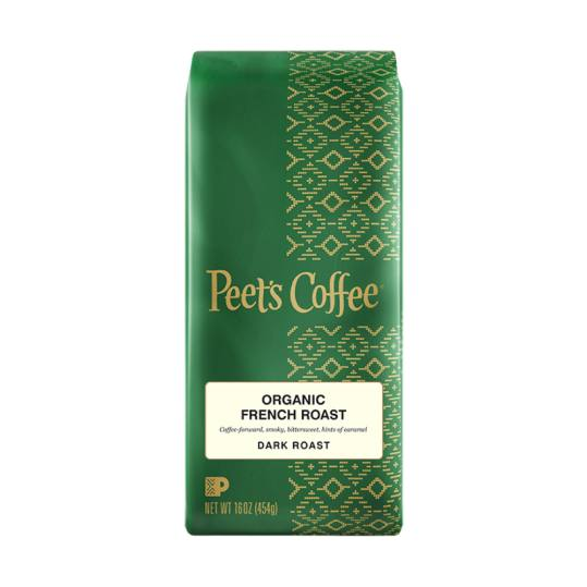 Bag of whole bean Organic French Roast coffee, roasted by Peet's Coffee