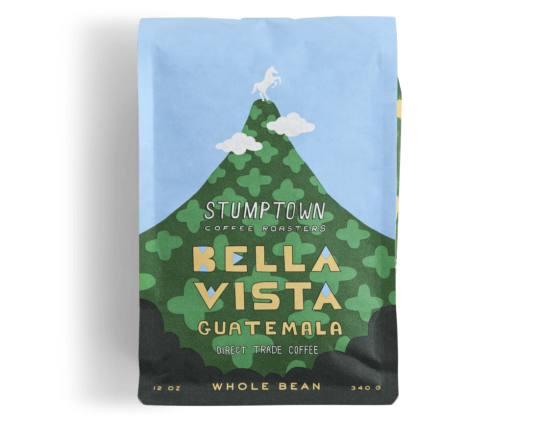 Bag of whole bean Guatemala Bella Vista coffee, roasted by Stumptown Coffee Roasters