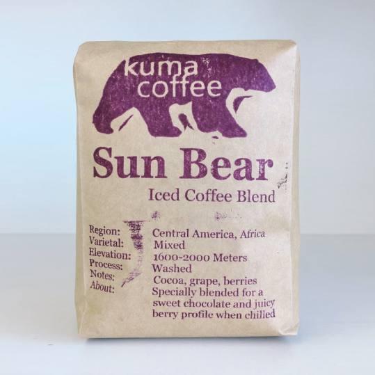 Bag of whole bean Sun Bear Iced Coffee Blend coffee, roasted by Kuma Coffee