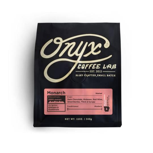 Bag of whole bean Monarch Espresso coffee, roasted by Onyx Coffee Lab