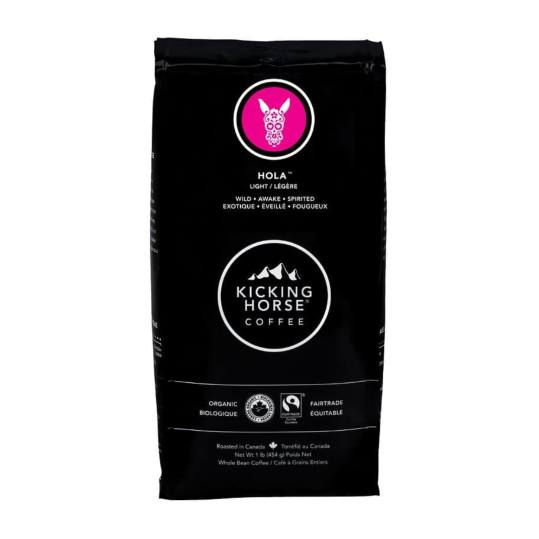 Bag of whole bean Hola® coffee, roasted by Kicking Horse Coffee