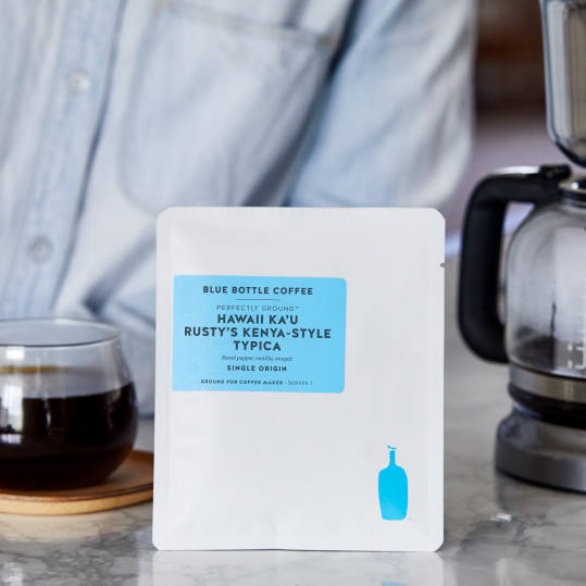 Bag of whole bean Hawaii Rusty's Estate Ka'u Typica coffee, roasted by Blue Bottle Coffee