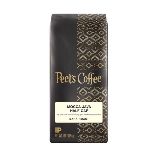 Bag of whole bean Half-Caf Arabian Mocha-Java coffee, roasted by Peet's Coffee