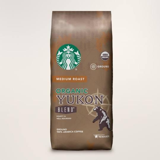 Bag of whole bean Organic Yukon Blend® coffee, roasted by Starbucks