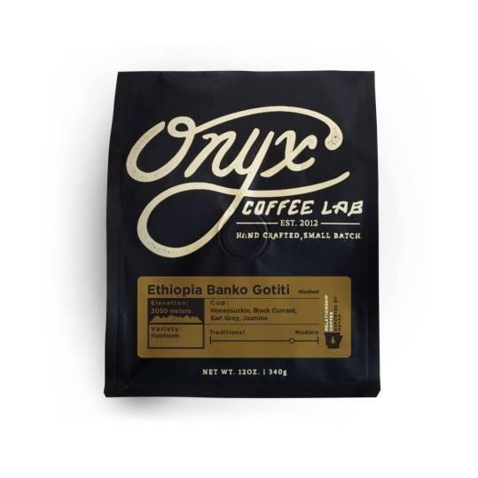 Bag of whole bean Ethiopia Banko Gotiti coffee, roasted by Onyx Coffee Lab