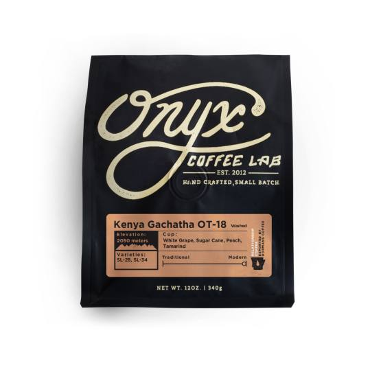 Bag of whole bean Kenya Gachatha OT-18 coffee, roasted by Onyx Coffee Lab