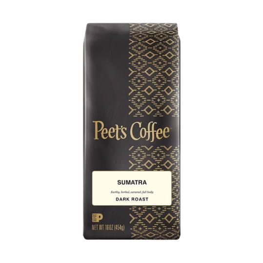 Bag of whole bean Sumatra coffee, roasted by Peet's Coffee