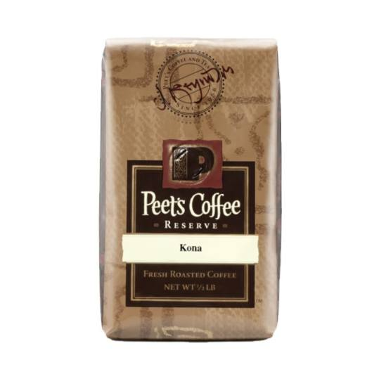 Bag of whole bean Kona coffee, roasted by Peet's Coffee