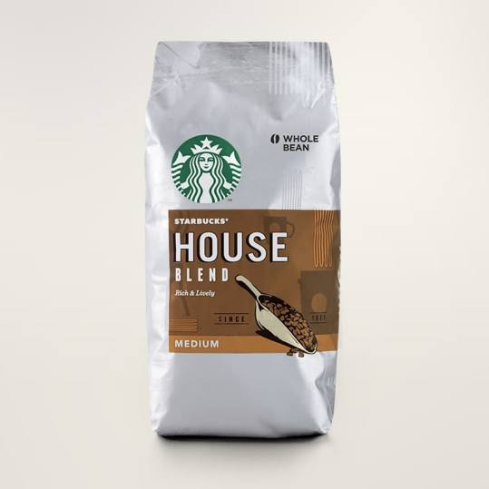 Bag of whole bean House Blend coffee, roasted by Starbucks