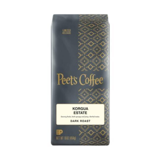 Bag of whole bean Korgua Estate coffee, roasted by Peet's Coffee