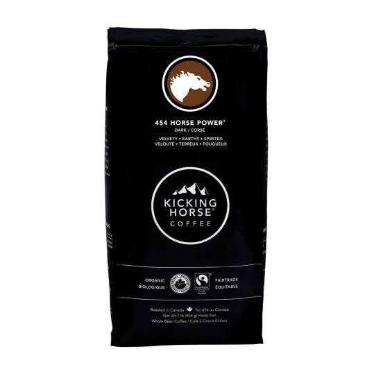 Bag of whole bean 454 Horse Power® coffee, roasted by Kicking Horse Coffee