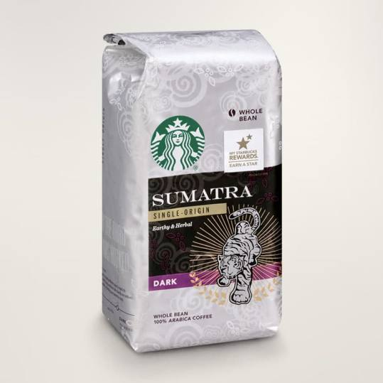 Bag of whole bean Sumatra coffee, roasted by Starbucks