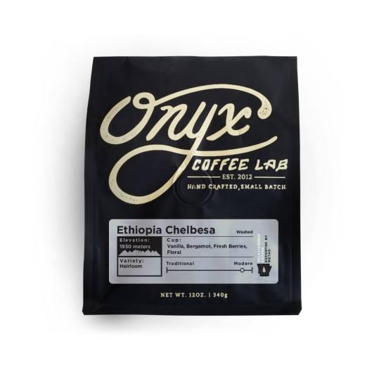 Bag of whole bean Ethiopia Chelbesa coffee, roasted by Onyx Coffee Lab