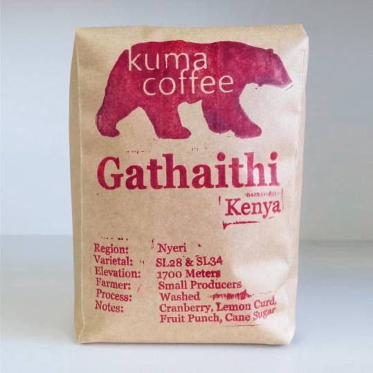 Bag of whole bean Kenya Gathaithi coffee, roasted by Kuma Coffee