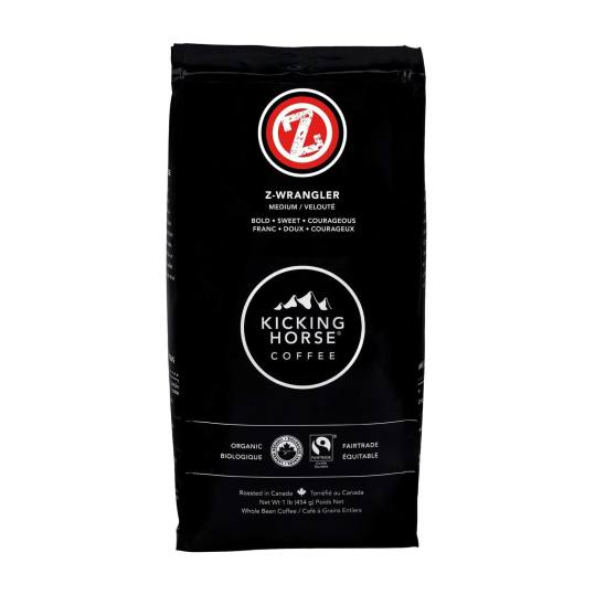 Bag of whole bean Z-Wrangler coffee, roasted by Kicking Horse Coffee