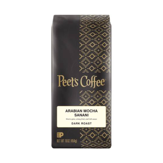 Bag of whole bean Arabian Mocha Sanani coffee, roasted by Peet's Coffee