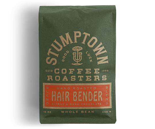 Bag of whole bean Hair Bender coffee, roasted by Stumptown Coffee Roasters