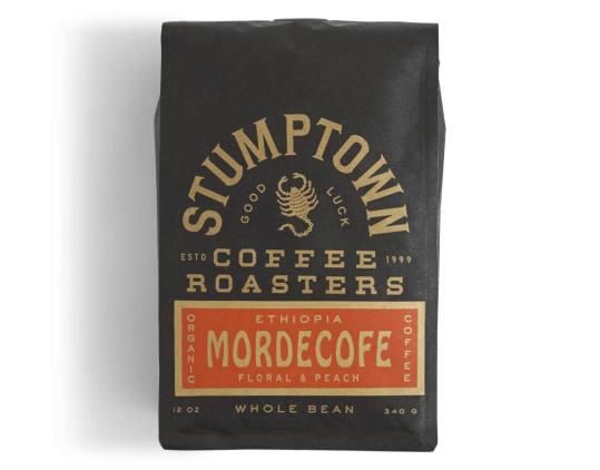 Bag of whole bean Ethiopia Mordecofe coffee, roasted by Stumptown Coffee Roasters