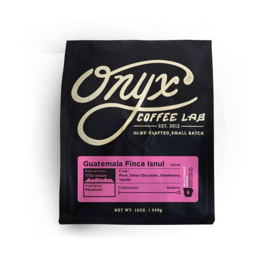 Bag of whole bean Guatemala Finca Isnul Hybrid coffee, roasted by Onyx Coffee Lab