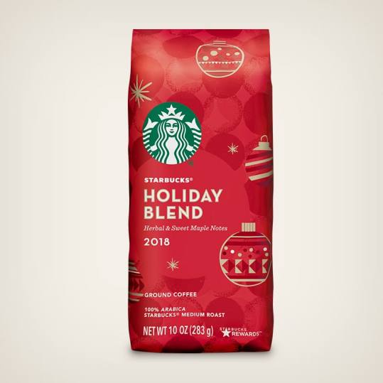 Bag of whole bean Holiday Blend (2018) coffee, roasted by Starbucks