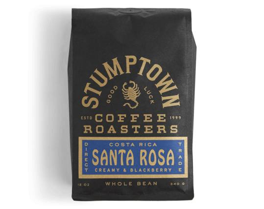 Bag of whole bean Costa Rica Santa Rosa coffee, roasted by Stumptown Coffee Roasters