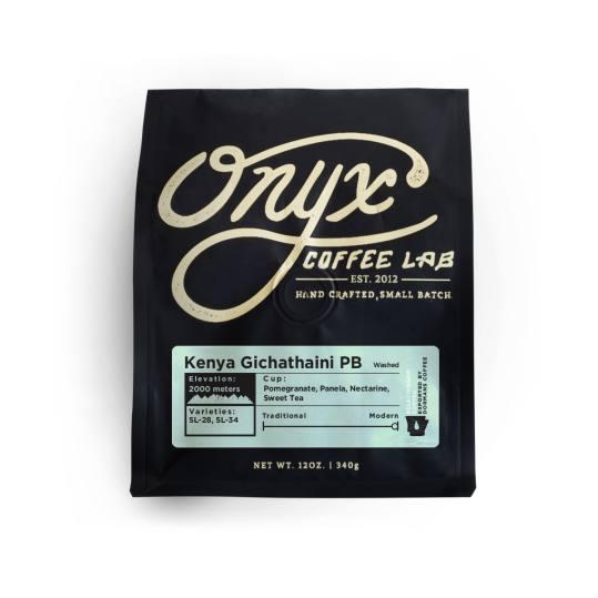 Bag of whole bean Kenya Gichathaini PB coffee, roasted by Onyx Coffee Lab