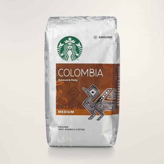 Bag of whole bean Colombia coffee, roasted by Starbucks