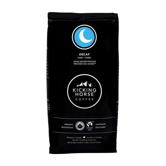 Bag of whole bean Decaf coffee, roasted by Kicking Horse Coffee