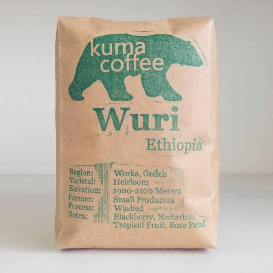 Bag of whole bean Ethiopia Wuri coffee, roasted by Kuma Coffee